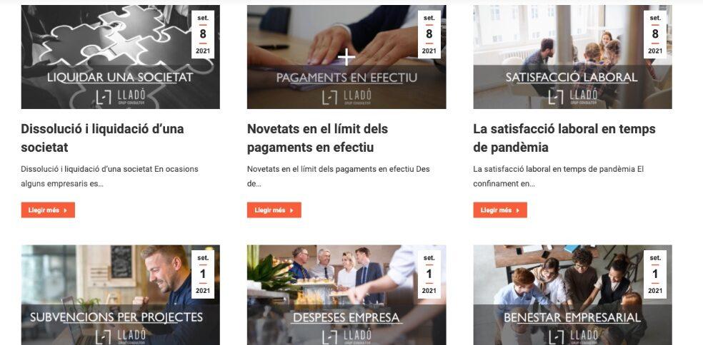 Nova web nous continguts Llado Grup